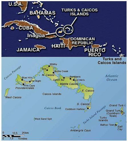 A Turk- és Caicos szigetek földrajzi fekvése és térképe.